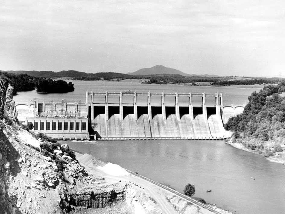Historical image of dam
